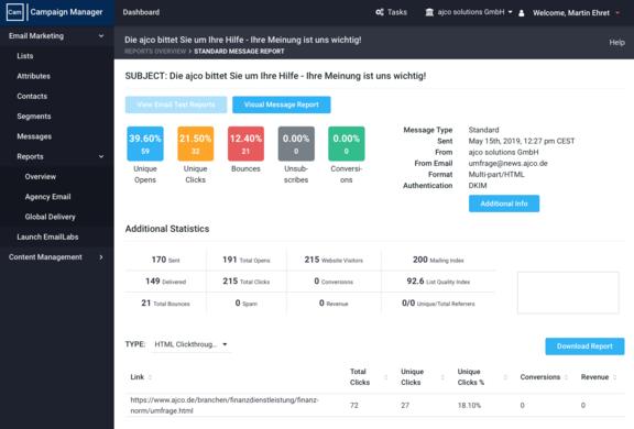 Aurea ACM liefert Realtime Reporting zu E-Mailkampagnen