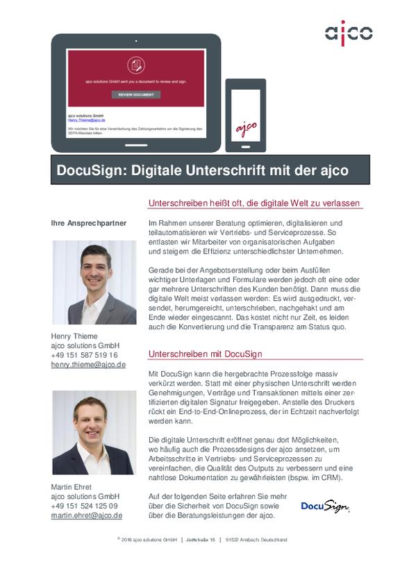 Digitale Unterschrift mit DocuSign