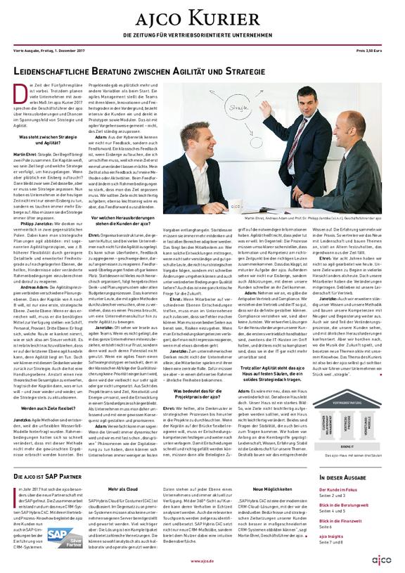 ajco Kurier - Unternehmenszeitung der ajco über Vertrieb, CRM, Prozesse
