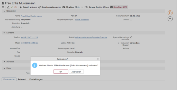 DocuSign - elektronische Unterschrift - Aufruf aus dem Aurea CRM
